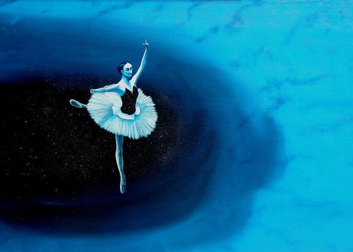 Oil Painting. Ballerina. Ballerina Dancing. Universal Balance. Surreal Impressionism Greeting Card featuring the painting Balance by Ivan Rijhoff