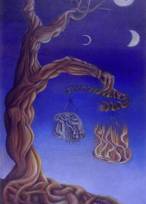 Tree Greeting Card featuring the drawing Balance Of Fire And Water by Natalia Kadish