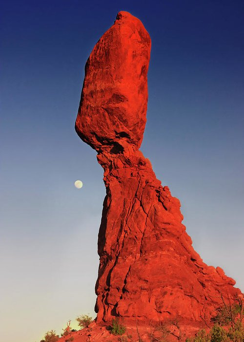 Monolith Greeting Card featuring the photograph Balanced Rock And Moon by William Gillam