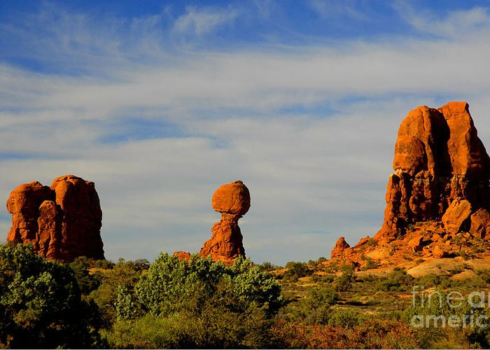 Arches Greeting Card featuring the photograph Balanced Rock by Dennis Hammer