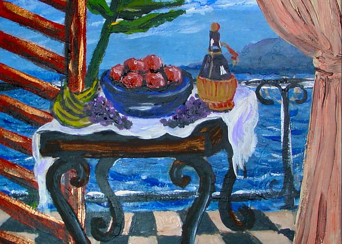Tile Greeting Card featuring the painting Balcony By The Mediterranean Sea by Karon Melillo DeVega
