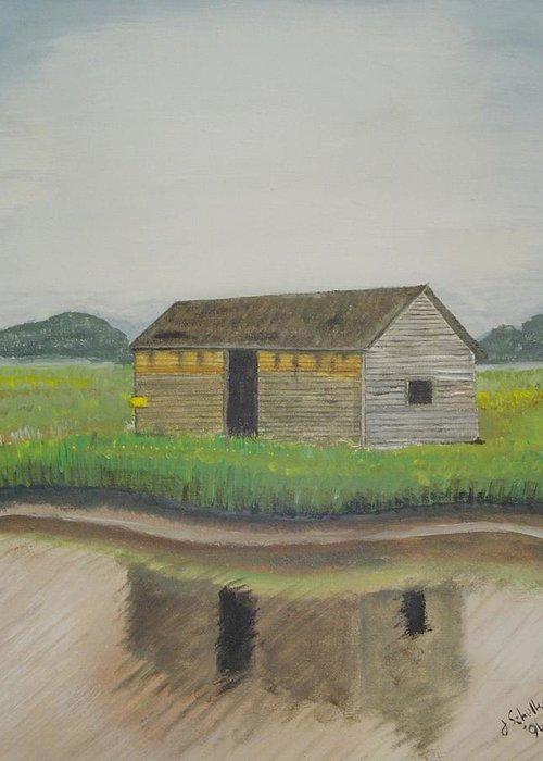 Marsh Greeting Card featuring the painting Bald Head Island Shed by John Schuller