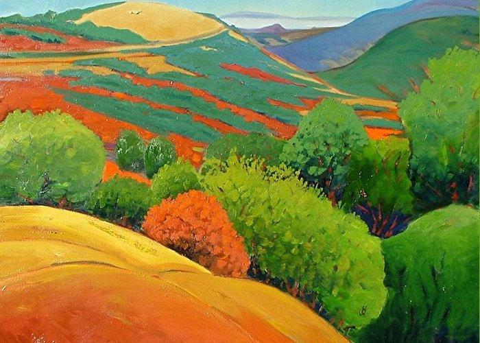 California Landscape Greeting Card featuring the painting Bald Hill by Gary Coleman