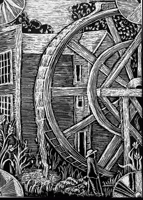 Bale Grist Mill Greeting Card featuring the drawing Bale Grist Mill by Valera Ainsworth