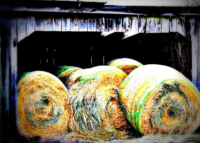Farm Greeting Card featuring the photograph Bales by Jill Tennison