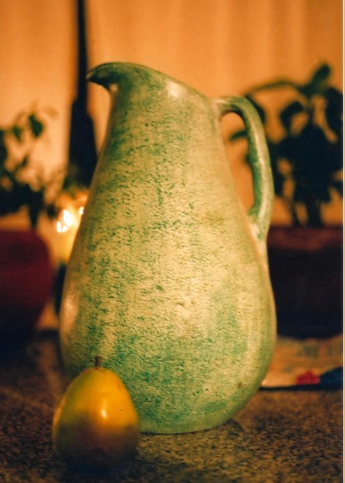 Still Life Greeting Card featuring the photograph Bali Pitcher And Pear by Heather S Huston