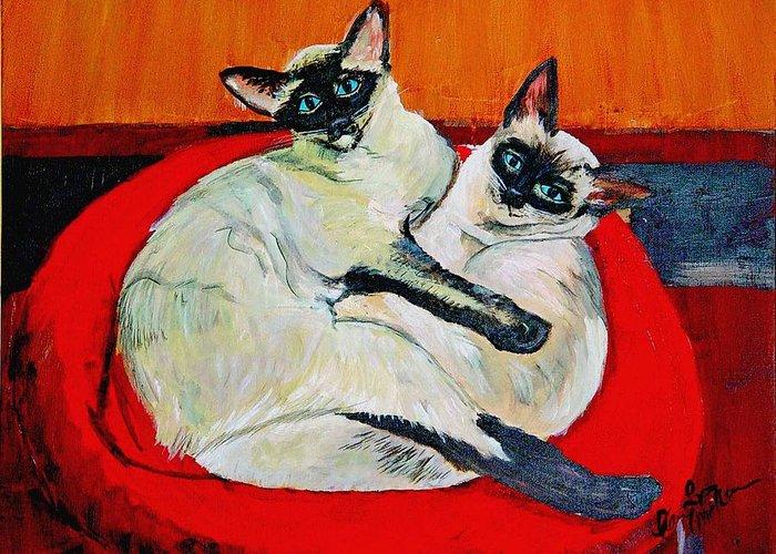 Balinese Cat Greeting Card featuring the painting Balinese Cats Hugging by Karen McNamara