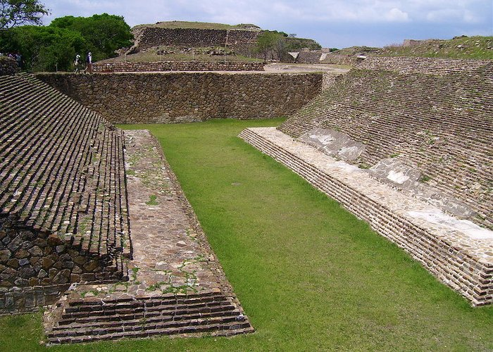 Monte Alban Greeting Card featuring the photograph Ball Court by Michael Peychich