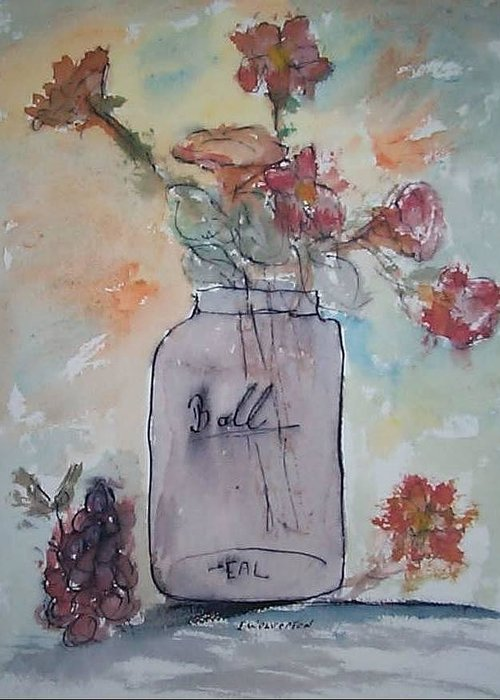 Realism Greeting Card featuring the painting Ball Jar Vase by Edward Wolverton