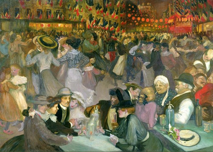 Ball Greeting Card featuring the painting Ball On The 14th July by Theophile Alexandre Steinlen