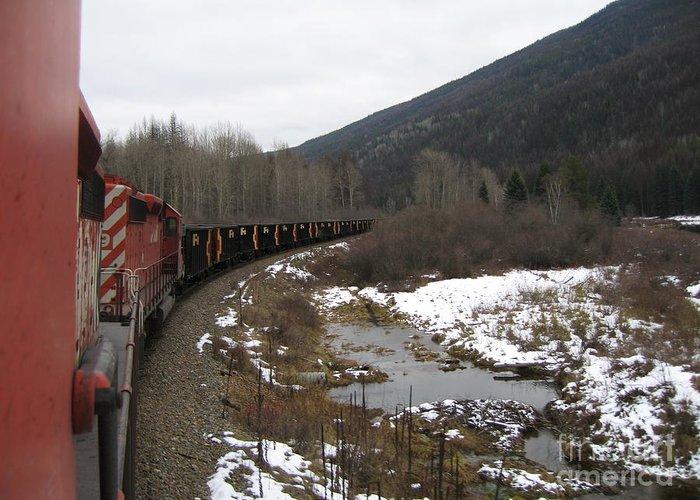 Photograph Train Mountain Snow Winter Tree Nature Greeting Card featuring the photograph Ballast Train by Seon-Jeong Kim