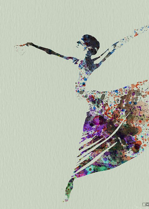 Greeting Card featuring the painting Ballerina Dancing Watercolor by Naxart Studio