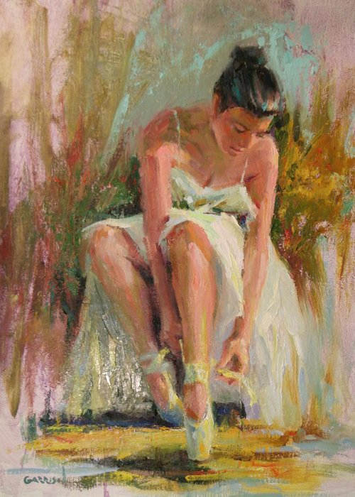 Ballerina Greeting Card featuring the painting Ballerina by David Garrison