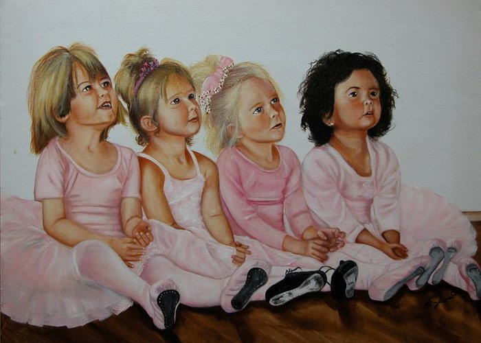 Child Greeting Card featuring the painting Ballerina Girls by Joni McPherson