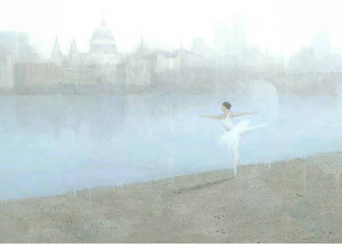 Ballerina Greeting Card featuring the painting Ballerina On The Thames by Steve Mitchell