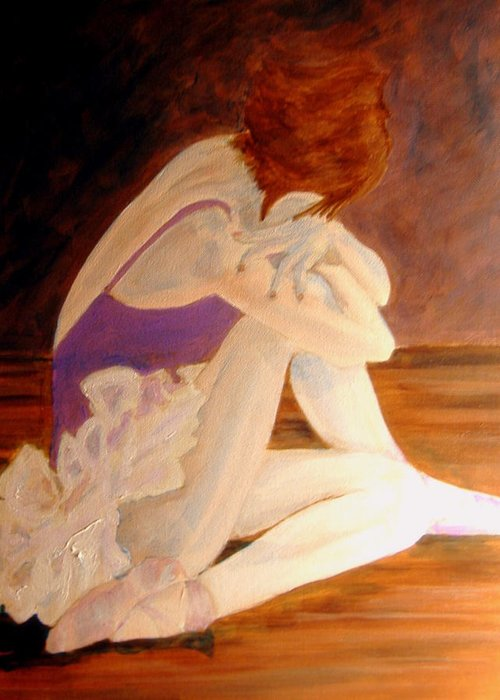 Ballerina Greeting Card featuring the painting Ballerina04 - Acrylic by Donna Hanna