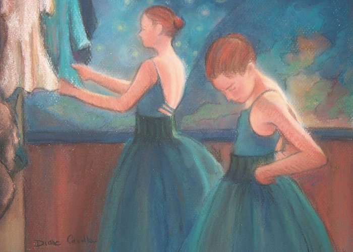 Blue Greeting Card featuring the painting Ballerinas In Blue Backstage by Diane Caudle
