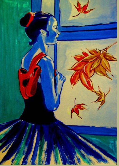Classical Dancers Greeting Card featuring the painting Ballerine En Automne by Rusty Woodward Gladdish
