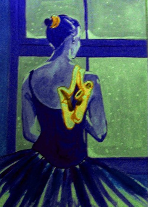 Ballet Dancers Greeting Card featuring the painting Ballerine En Hiver by Rusty Gladdish