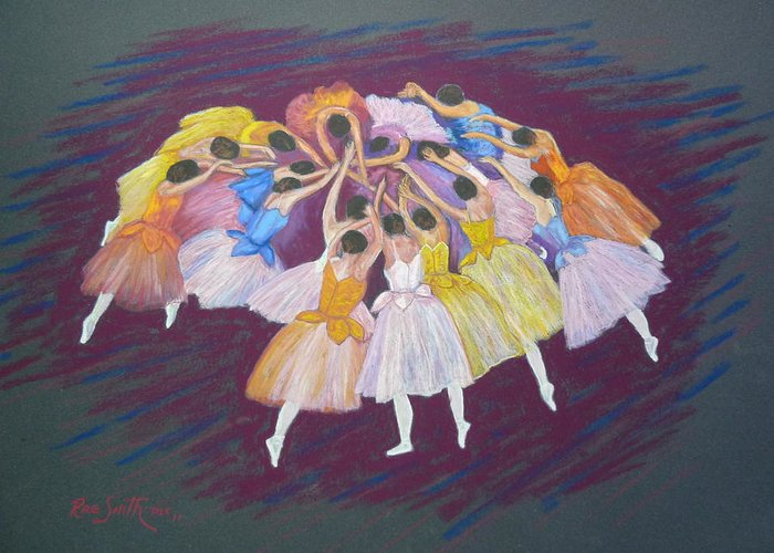 Ballet Greeting Card featuring the pastel Ballet Dancers by Rae Smith PSC