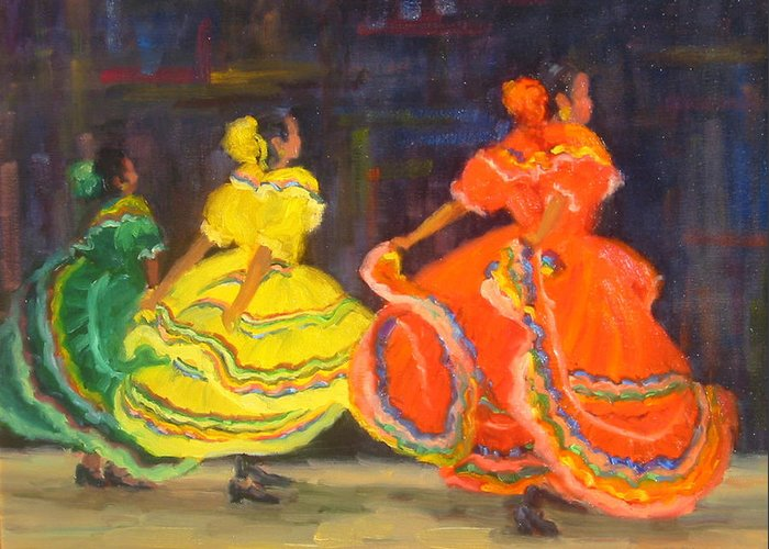 Figure Greeting Card featuring the painting Ballet Folklorico by Bunny Oliver