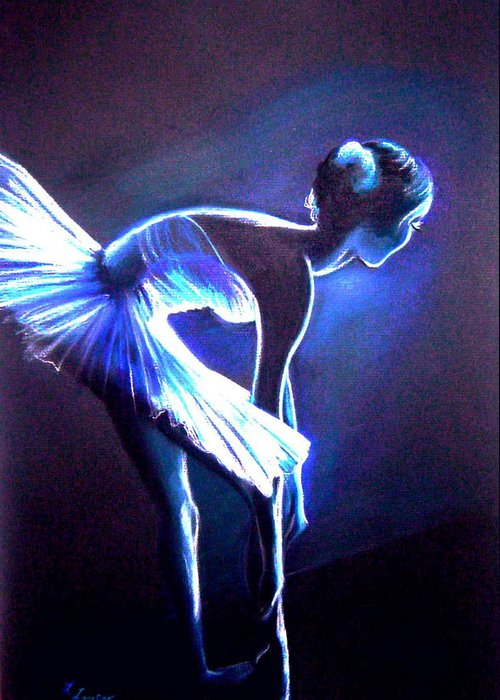 Ballet Greeting Card featuring the drawing Ballet In Blue by L Lauter
