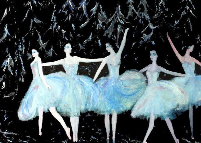 Ballet Greeting Card featuring the painting Ballet In Blue by Michela Akers
