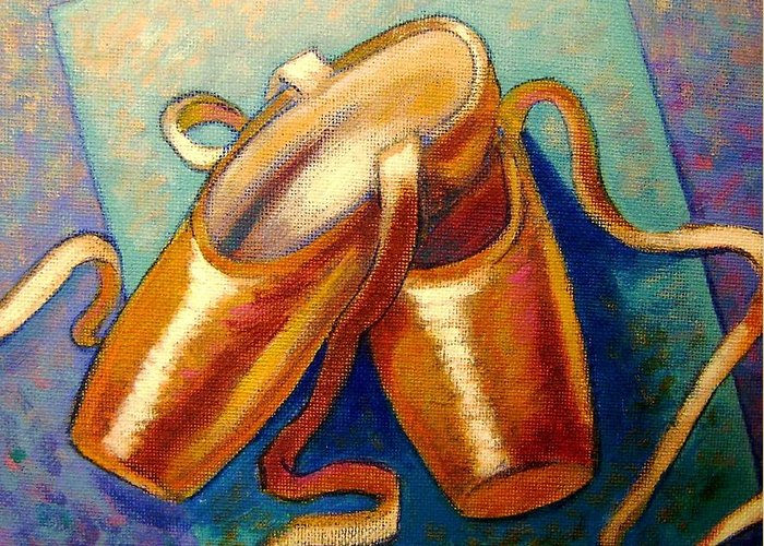 Ballet Shoes Leather Irish Cards Giclee Original Print Dance Dancers Satin Silk Ribbon Violet Blue Modern Colorful Impressionistic Tchaikovsky Classical Music Orchestra Canvas Acrylic Figurative Feet Slippers Boots Footwear Greeting Card featuring the painting Ballet Shoes by John Nolan