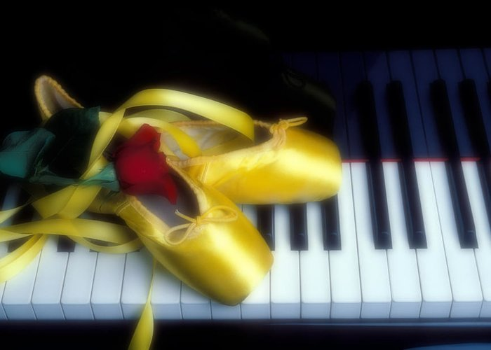 Ballet Shoes Shoe Greeting Card featuring the photograph Ballet Shoes On Piano Keys by Garry Gay