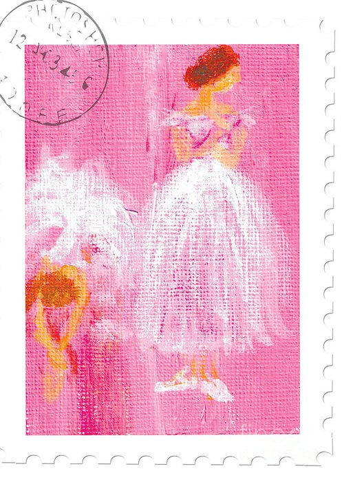 Ballet Greeting Card featuring the painting Ballet Sisters 2007 by Marie Loh