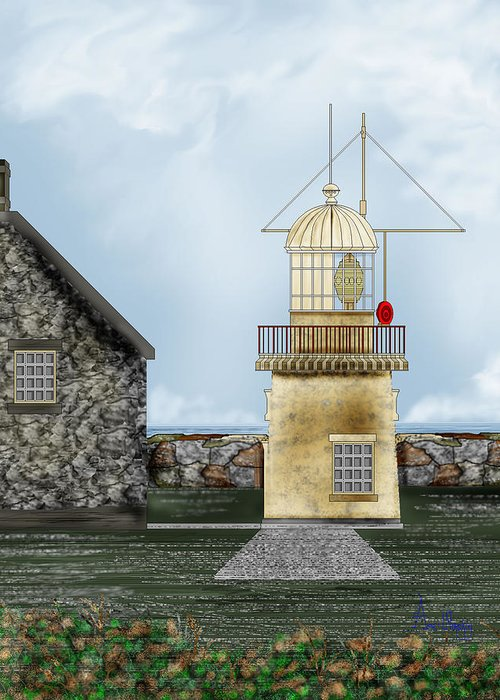 Lighthouse Greeting Card featuring the painting Ballinacourty Lighthouse At Waterford Ireland by Anne Norskog
