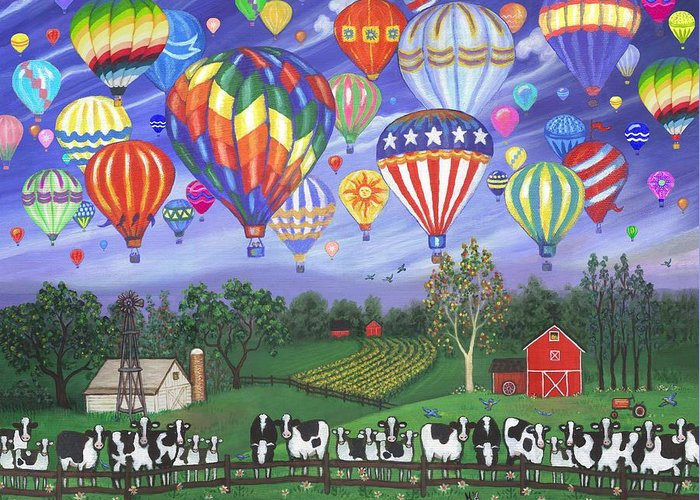 White Cows Greeting Card featuring the digital art Balloon Race Two by Linda Mears