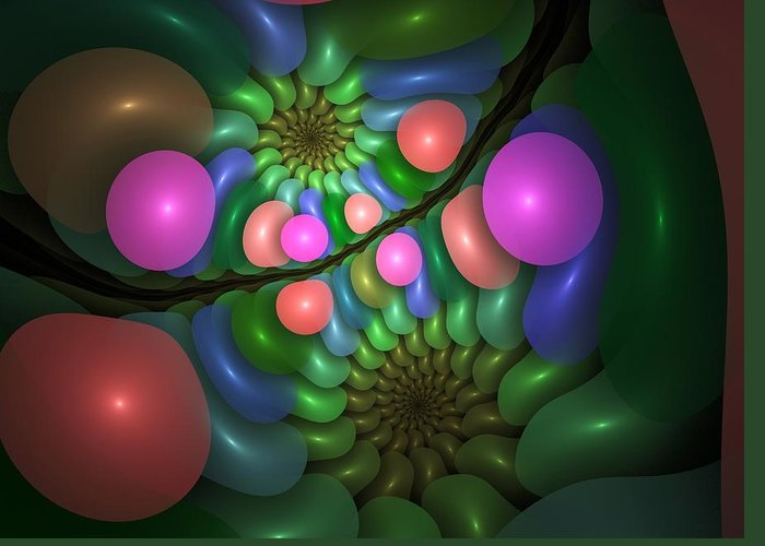 Fractal Greeting Card featuring the digital art Balloonatic by Lyle Hatch