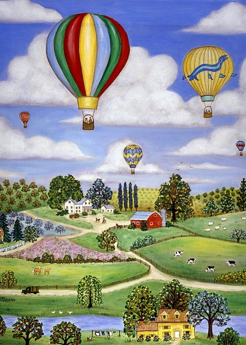 Landscape Greeting Card featuring the painting Ballooning In The Country One by Linda Mears