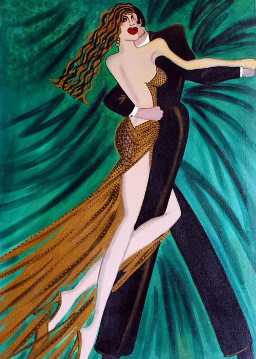 Ballroom Dancers Greeting Card featuring the painting Ballroom Dancers Champagne Tango by Helen Gerro