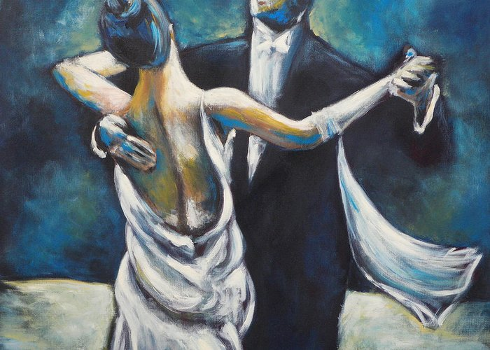 Dance Greeting Card featuring the painting Ballroom Dancers by Ellen Lewis