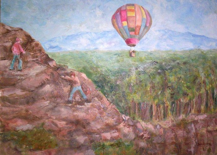 Landscape Baloon And Mountain Trees People Greeting Card featuring the painting Baloon by Joseph Sandora Jr