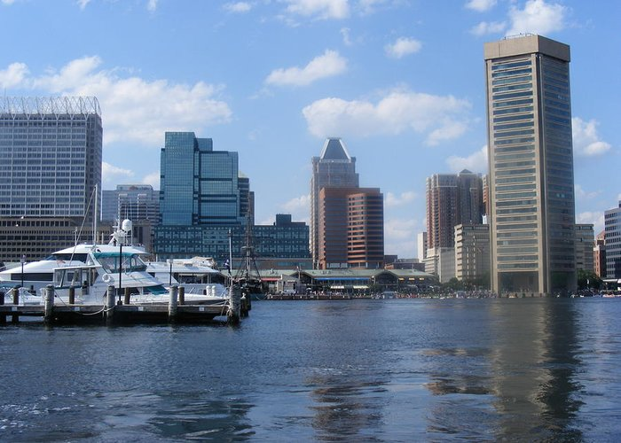 Baltimore Greeting Card featuring the photograph Baltimore Inner Harbor by James and Vickie Rankin