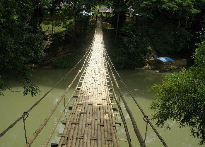 Bridge Greeting Card featuring the photograph Bamboo Bridge by Robert Cunningham