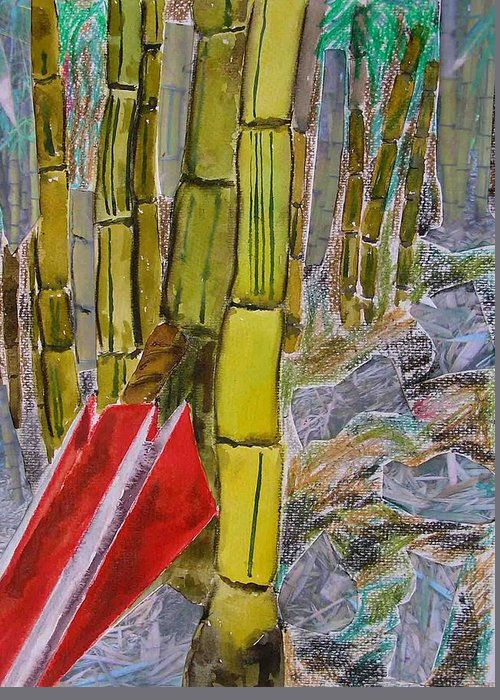 Greeting Card featuring the painting Bamboo Forest by Evguenia Men