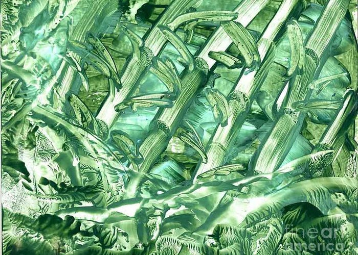 Abstract Greeting Card featuring the painting Bamboo Forest by Heather Hennick