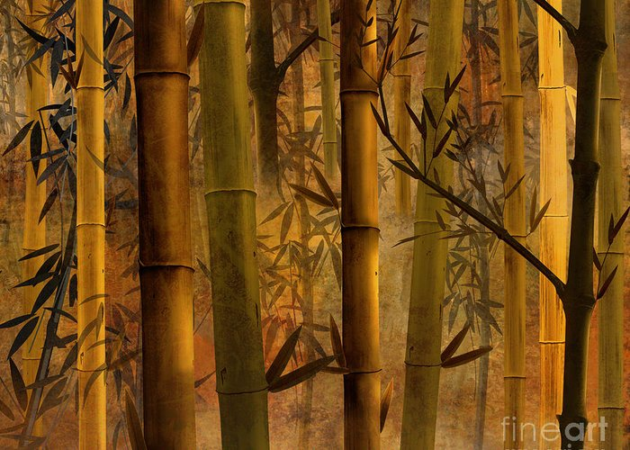 Bamboo Greeting Card featuring the digital art Bamboo Heaven by Bedros Awak