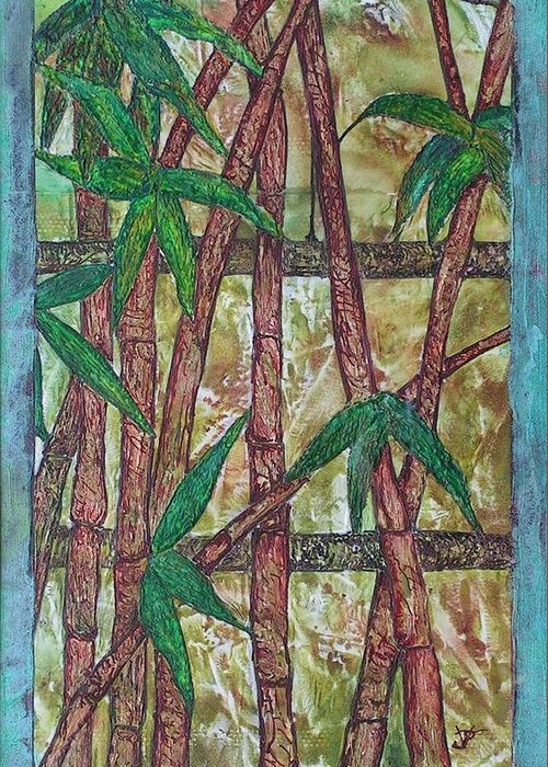 Bamboo Greeting Card featuring the painting Bamboo by John Vandebrooke