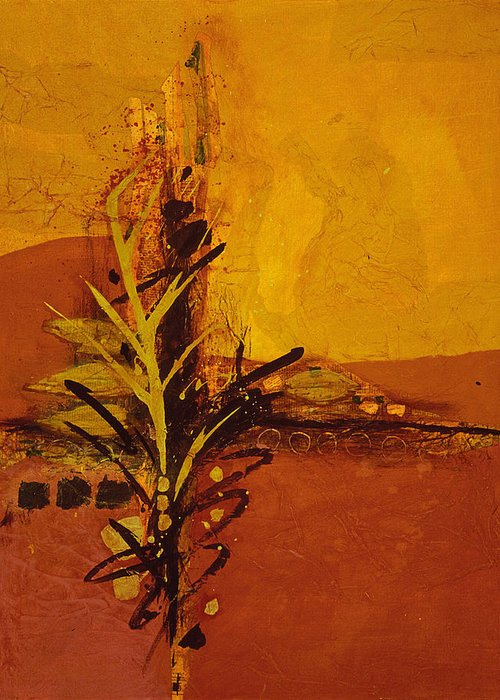 Asian Greeting Card featuring the painting Bamboo by Lorraine Lawson
