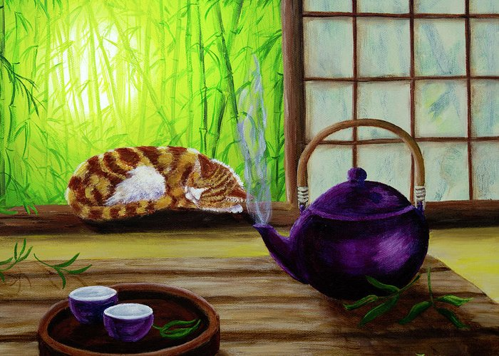 Bamboo House Paintings Greeting Cards