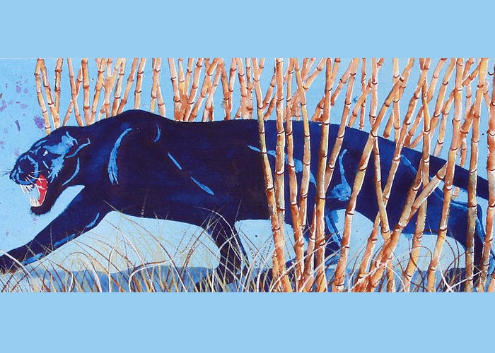 Preditor Cats Greeting Card featuring the painting Bamboo Panther by Larry Johnson