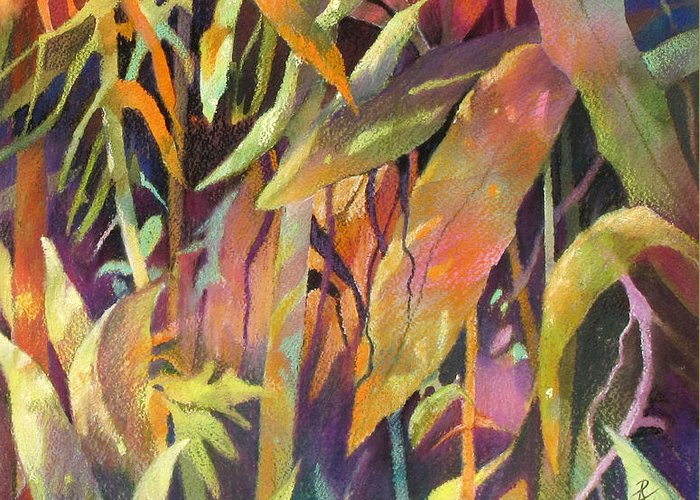 Abstract Greeting Card featuring the painting Bamboo Patterns by Rae Andrews