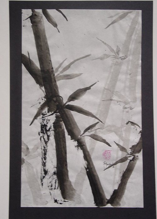 Bamboo Greeting Card featuring the painting Bamboo by Robin Miller-Bookhout