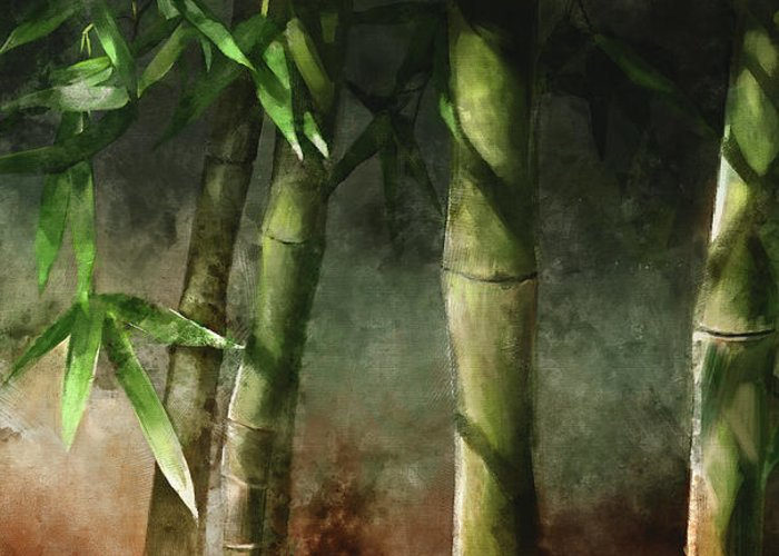 Bamboo Art Greeting Card featuring the mixed media Bamboo Stalks by Steve Goad