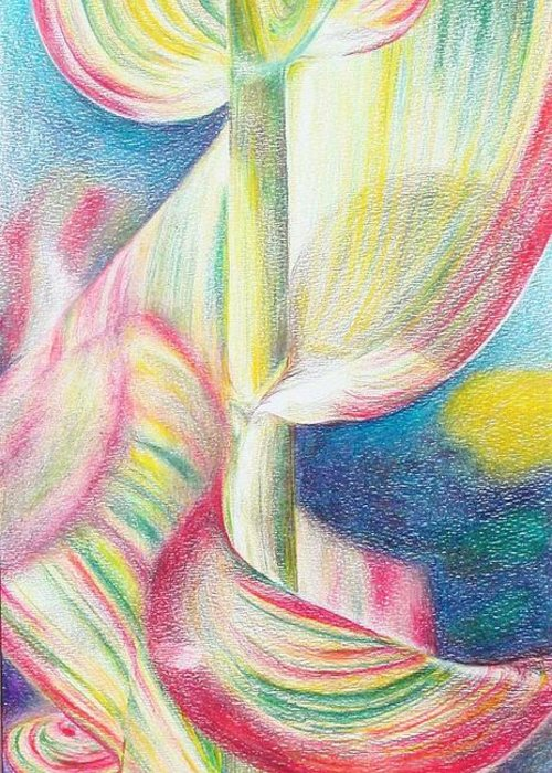 Flower Greeting Card featuring the painting Bambou by Muriel Dolemieux